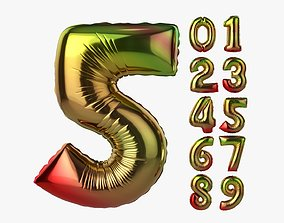 3D model Foil air balloon numbers 04