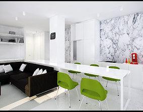 3D Modern Apartment Living-Bedroom