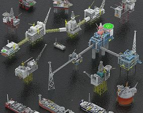3D model Oil rigs platform and FPSO pack