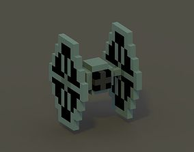 3D model VR / AR ready Voxel Tie Fighter