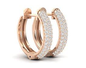 3D print model Diamond Huggies Hoop earrings for woman