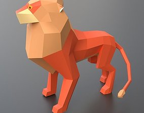 3D asset rigged lowpoly lion