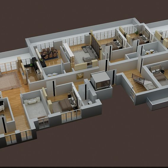 3D FLOOR PLAN OF APPARTMENT BUILDING RENDER IN 3DMAX VRAY 3.4