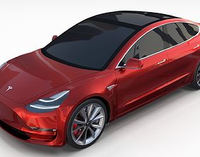 3D Tesla Model 3 Red