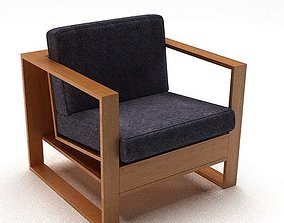 Wooden Cushion Modern Chair Armrest 3D model