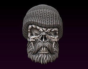 Sailor Skull with beard and mustache 3D print model