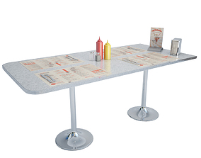 American Diner Table Set 3D model