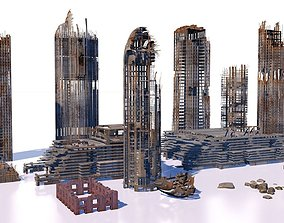 3D Buildings and skyscrapers in ruins