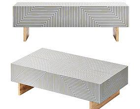 Savi Striped Inlay Coffee Table 3D model