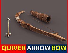 Bow Arrow Quiver 3D asset
