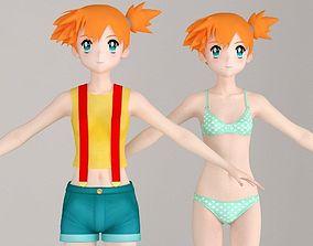 T pose nonrigged model of Misty anime girl 3D