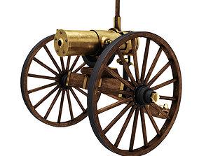 3D asset Old War Brass Cannon