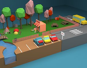 VR / AR ready Camp Low-Poly 3D Model