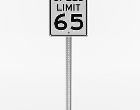 American Speed Limit Sign 3D