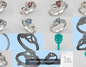 3D Gemstone rings set