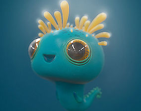 Cute Sea Monster Creature Tadpole Game Character 3D