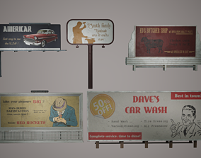 Billboard Set Low Poly Game Ready 3D asset