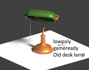lowpoly Old desk lamp for 3d games low-poly