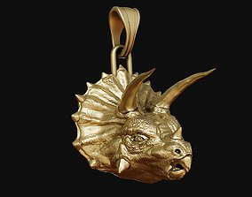 Triceratops head pendant 3D print model