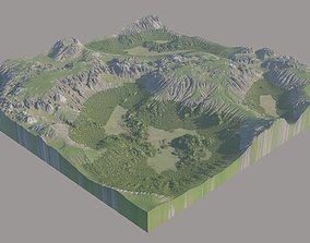 3D Scottish Highland with grass and moss
