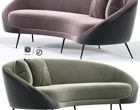 Italian Mid Century Modern Curved Sofa 3D