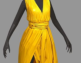 polygonal art summer long yellow dress white 3D model 2