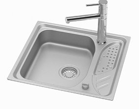 3D Small Silver Sink Tap