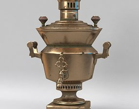 3D Vintage metal copper tea samovar