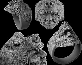 Ring Indian with a wolf 3D printable model