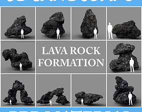 3D asset Low poly Lava Rock with dust Package 200229