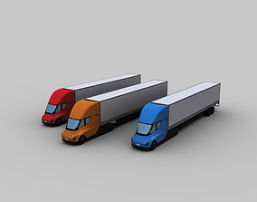 3D asset Electric truck and Trailer Lowpoly