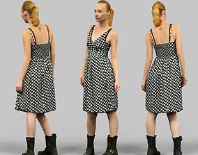 Girl in Polka Dot Dress 3D model