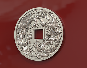 Dragon and phoenix lucky coin 3D print model