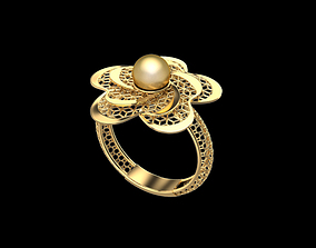 Flower shaped ring with pearl 3D print model