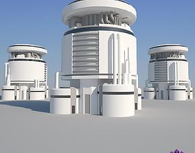 3D asset low-poly Industrial Building 10