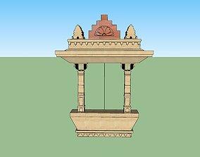 rigged indian jodhpuri stone jharokha 3d modal