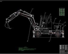 WYL5 hydraulic tire excavator 3D