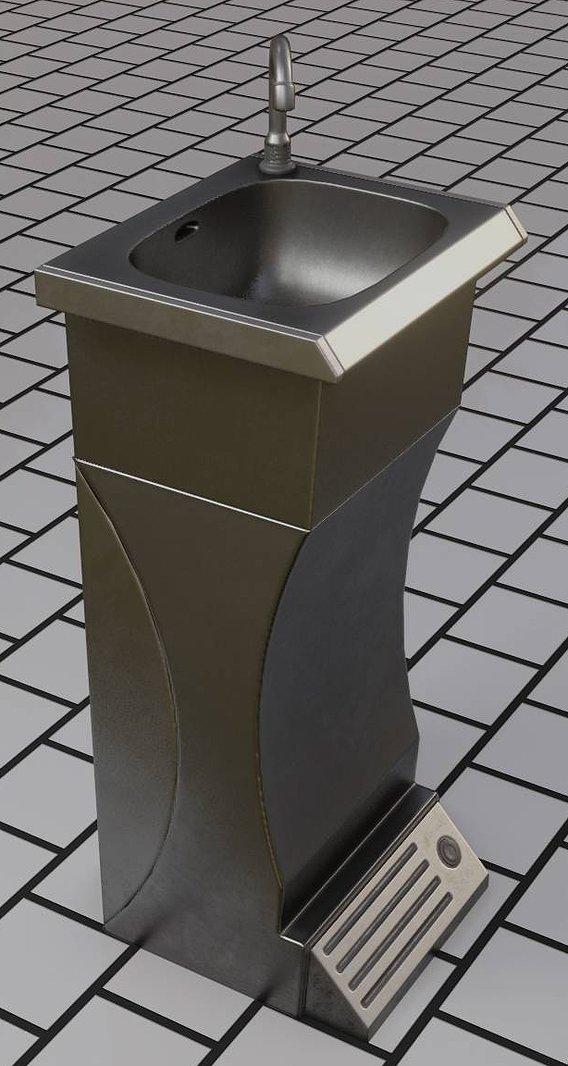 Public Metal Sink - 11 - Futuristic