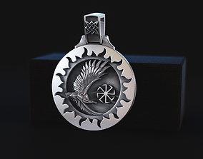 amulet pendant with an eagle 3D print model
