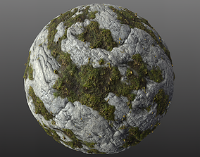 Mossy Rock 002 PBR Material 3D