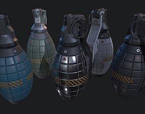 Sci-Fi Military Frag Grenade v2 PBR 3D asset