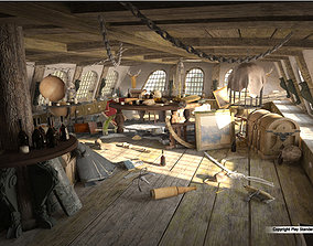 Cabin of the captain of an old ship 3D model