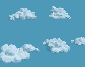 3D asset Low Poly Cumulus Clouds Pack 2