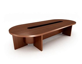 3D Oval Wooden Table