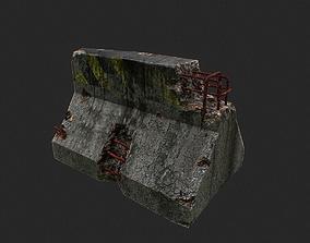 Road Block Damaged 3D model
