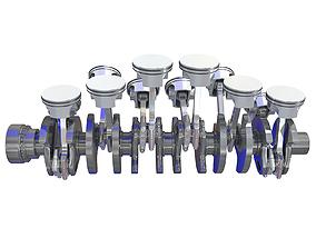 Animated V12 Engine Cylinders 3D model