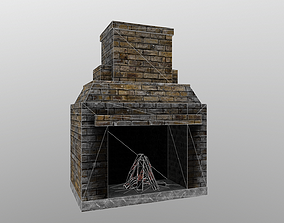 realtime Game ready Old fireplace 3D model Low-Poly