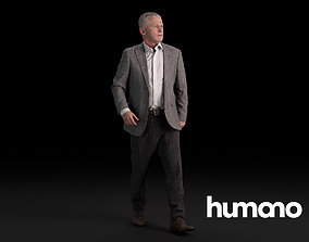3D Humano Elegant Man Standing and walking 0415