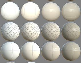 3D model realtime PBR Bathroom Tiles Material Collection