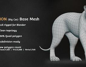 3D asset Lion Big Cat Base Mesh